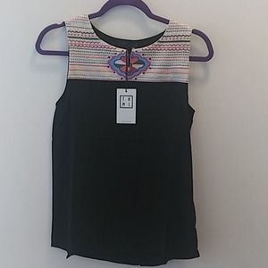 THML sleeveless embroidered top size s